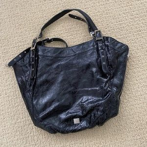 Kooba black patent leather shoulder bag